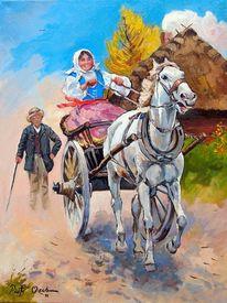 Mädchen pferd kutsche, Malerei, Tiere, Fahrt