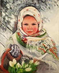 Mädchen tulpen, Malerei, Mädchen, Tulpen