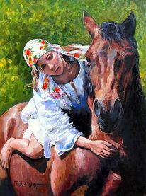 Mädchen pferd, Malerei, Tiere, Mädchen