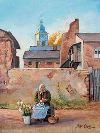 Marktfrau herbst blumen, Malerei