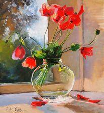 Mohnblumen glasvase, Malerei, Pflanzen, Mohnblumen