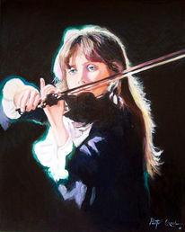 Geige, Mädchen, Malerei, Menschen
