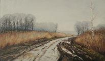 Regen weg landschaft, Malerei, Tag