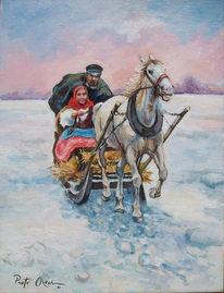 Menschen, Schlittenfahrt, Pferde, Winter