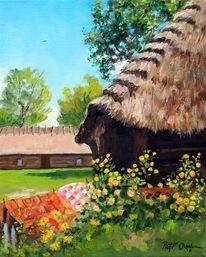 Sommer, Blumen, Reetdachhaus, Malerei