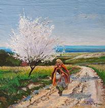 Weg, Frau, Frühling, Blumen
