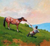 Pferd bauer berge, Malerei, Tiere, Esel