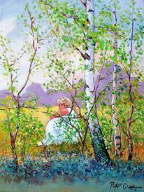 Birken, Sommer, Frau, Malerei