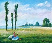 Sommer, Frau, Pappeln, Malerei