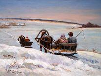 Schlitten, Winter, Menschen, Schnee