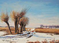 Schnee, Frühling, Feld, Feldweg