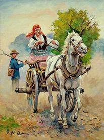 Pferde, Sommer, Kutsche, Mädchen