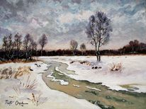 Winter schnee fluss, Malerei, Winter, Fluss