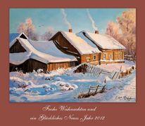 Winter schnee weihnachten, Malerei, Winter