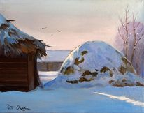 Dorf, Baum, Winter, Haus