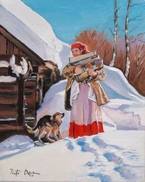 Winter frau hund, Malerei, Menschen, Winter