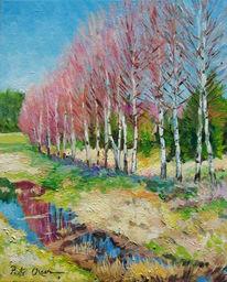 Frühling, Birken, Malerei