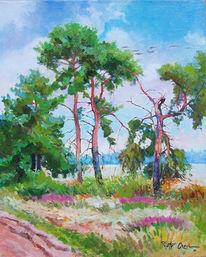 Baum, Herbst, Heide, Malerei