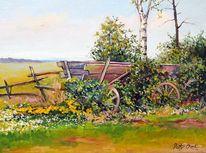 Blumen, Feld, Wagen, Baum