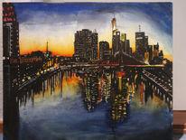 Malkarton, Skyline, Acrylmalerei, Malerei