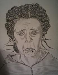 Selbstportrait, Bleistiftzeichnung, Zeichnungen, Portrait