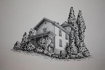 Haus, Tuschezeichnung, Irina wall, Zeichnungen