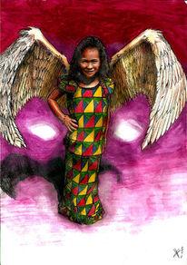 Flügel, Comic, Mädchen, Malerei