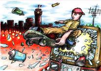 Graffiti, Skateboard, Tv, Cottbus