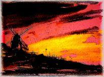 Landschften, Mühle, Abend, Digital