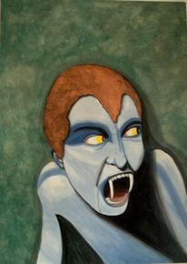 Frau, Blau, Vampier, Kupfer
