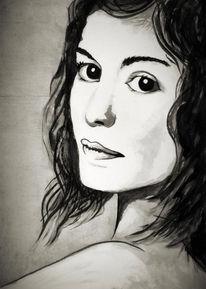 Portrait, Tusche, Frau, Zeichnungen