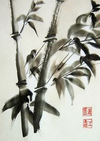 Bambus tusche sumi, Malerei, Bambus