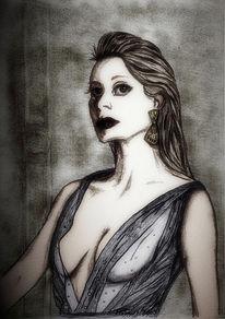 Dame, Weiß, Zeichnungen, Portrait