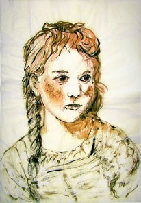 Mädchen, Portrait, Seidenpapier, Tuschmalerei