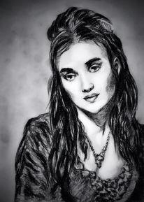 Mina, Zeichnungen, Portrait