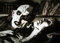 Hahnenschrei, Tuschmalerei, Vampir, Zeichnungen