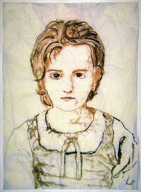 Mädchen, Seidenpapier, Bouguereau, Tuschmalerei