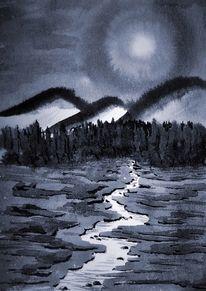 Tuschmalerei, Nacht, Vollmond, Malerei
