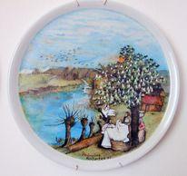 Frühling, Bauernmalerei, Frau, Teller