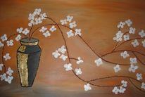 Blüte, Vase, Malerei, Stillleben