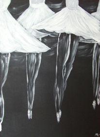 Ballerina, Schwarz weiß, Malerei, Figural