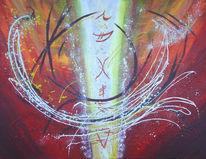 Zeichen, Abstrakt, Rot, Malerei