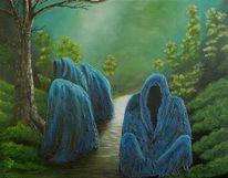 Gestaltung, Mystischer wald, Geist, Malerei