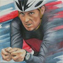Portrait, Tour de france, Acrylmalerei, Lanze