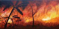 Brandrodung, Urwald, Feuer, Malerei