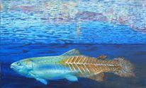 Wasser, Spiegelung, Forelle, Malerei