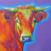 Portrait, Kuh, Bunt, Acrylmalerei