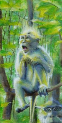 Makaken, Urwald, Affe, Malerei