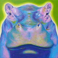 Flusspferd, Portrait, Bunt, Acrylmalerei