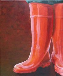 Gummistiefel, Rot, Stiefel, Malerei